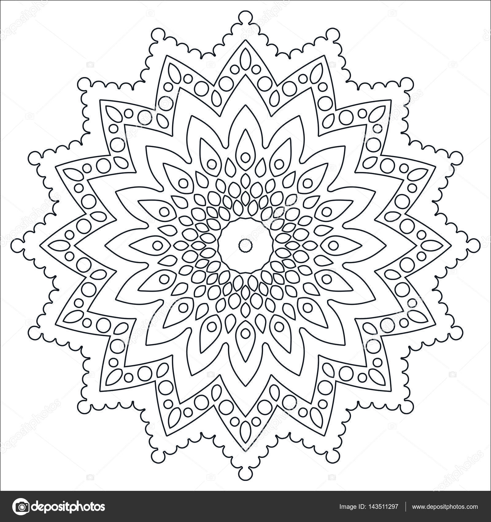 Outline pattern for painting. Antistress Coloring Page. Contour ...