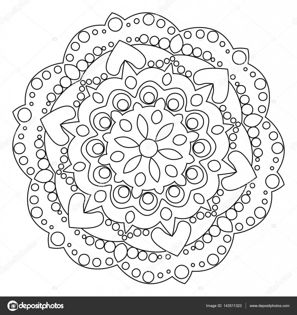 Anahat Desen Boyama Için Antistress Boyama Sayfası Basit Geometrik