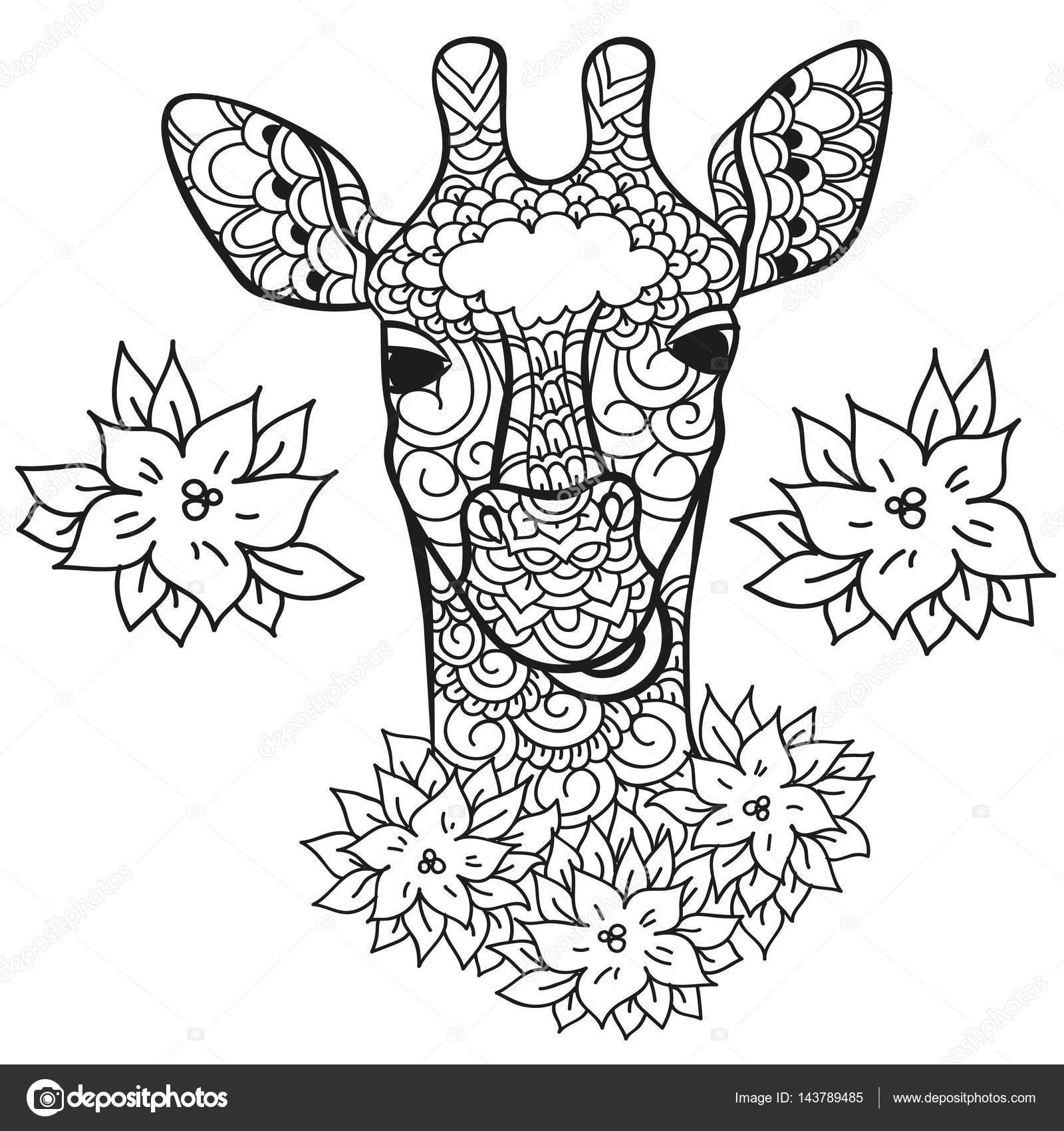 giraf in doodle stylee kleurplaat pagina antistress voor