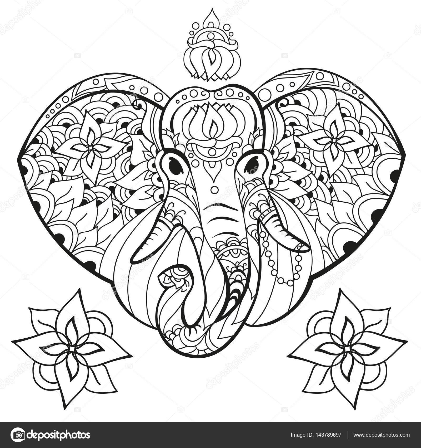 olifant in doodle stijl kleurplaat pagina antistress voor