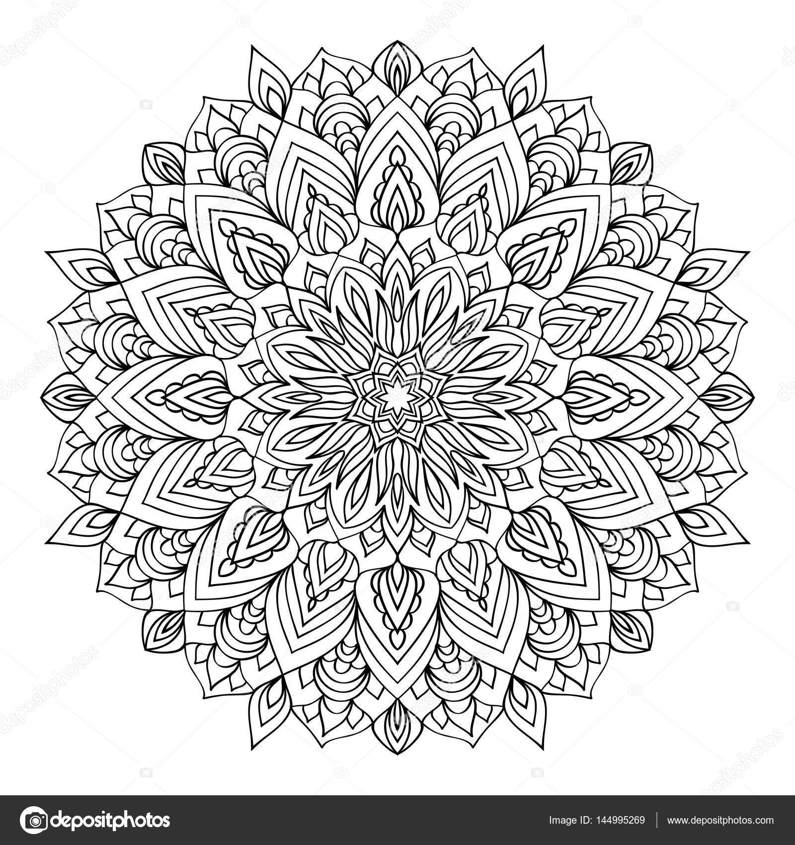 Mandala Elemento Decorativo Preto Branco Imagens Para