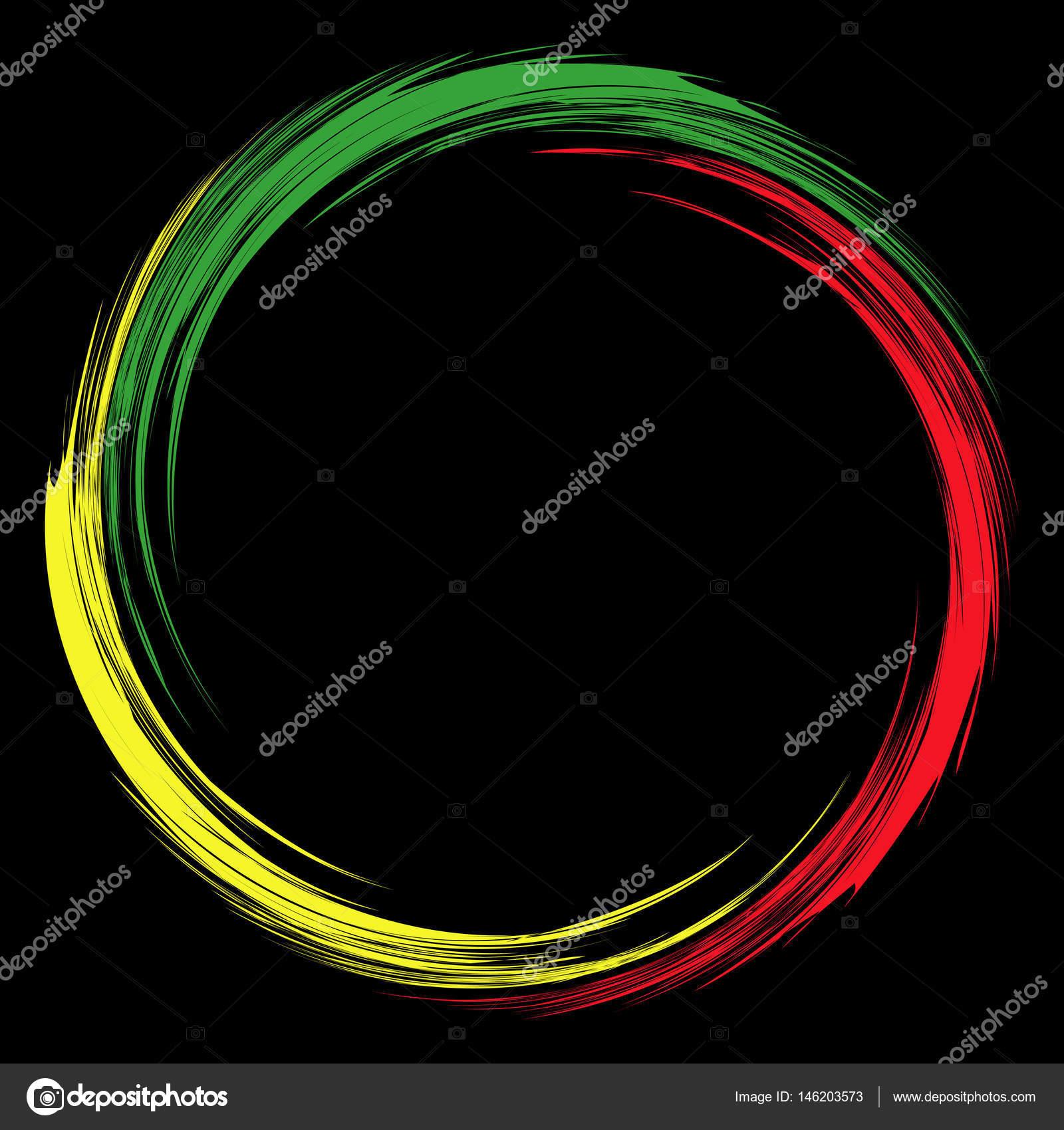 Runde rote gelbe grüne abstrakte Rahmen im Reggae-Stil. Element für ...