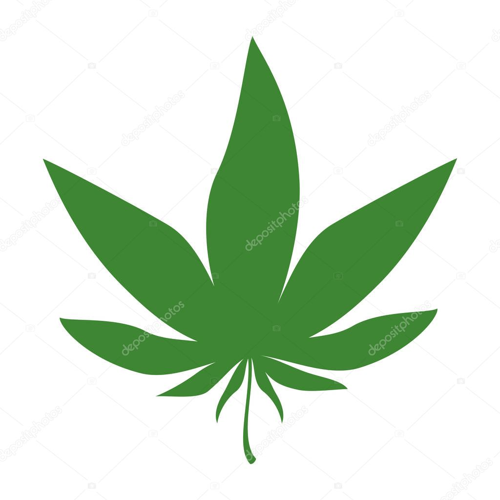 Cannabis green silhouette logo. Hemp icons. Sign T-shirts for design, creating corporate identity and promotional products.