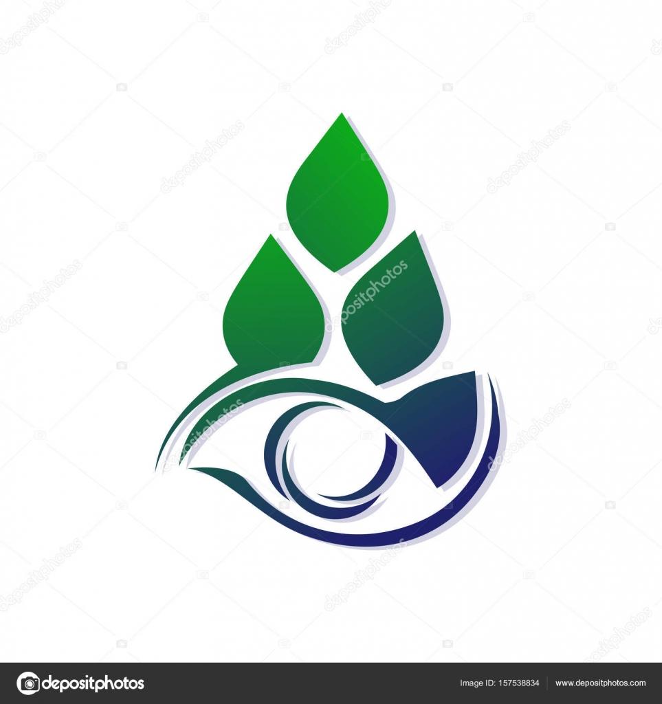 Vorlage für ein Logo aus stilisierten Blättern und Augen. Eco-Symbol ...