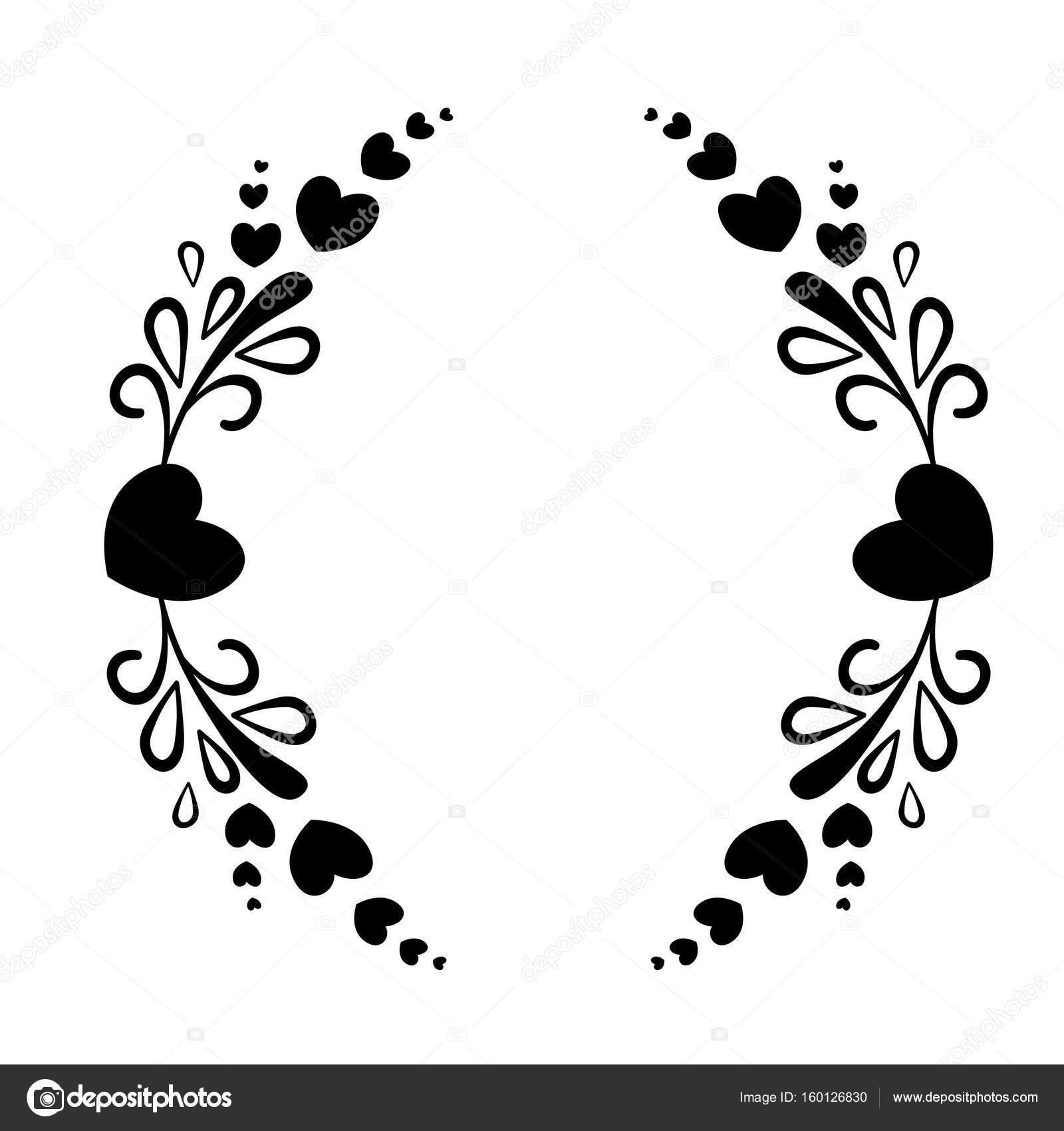 Marco elegante blanco y negro con una silueta de corazón y elementos ...