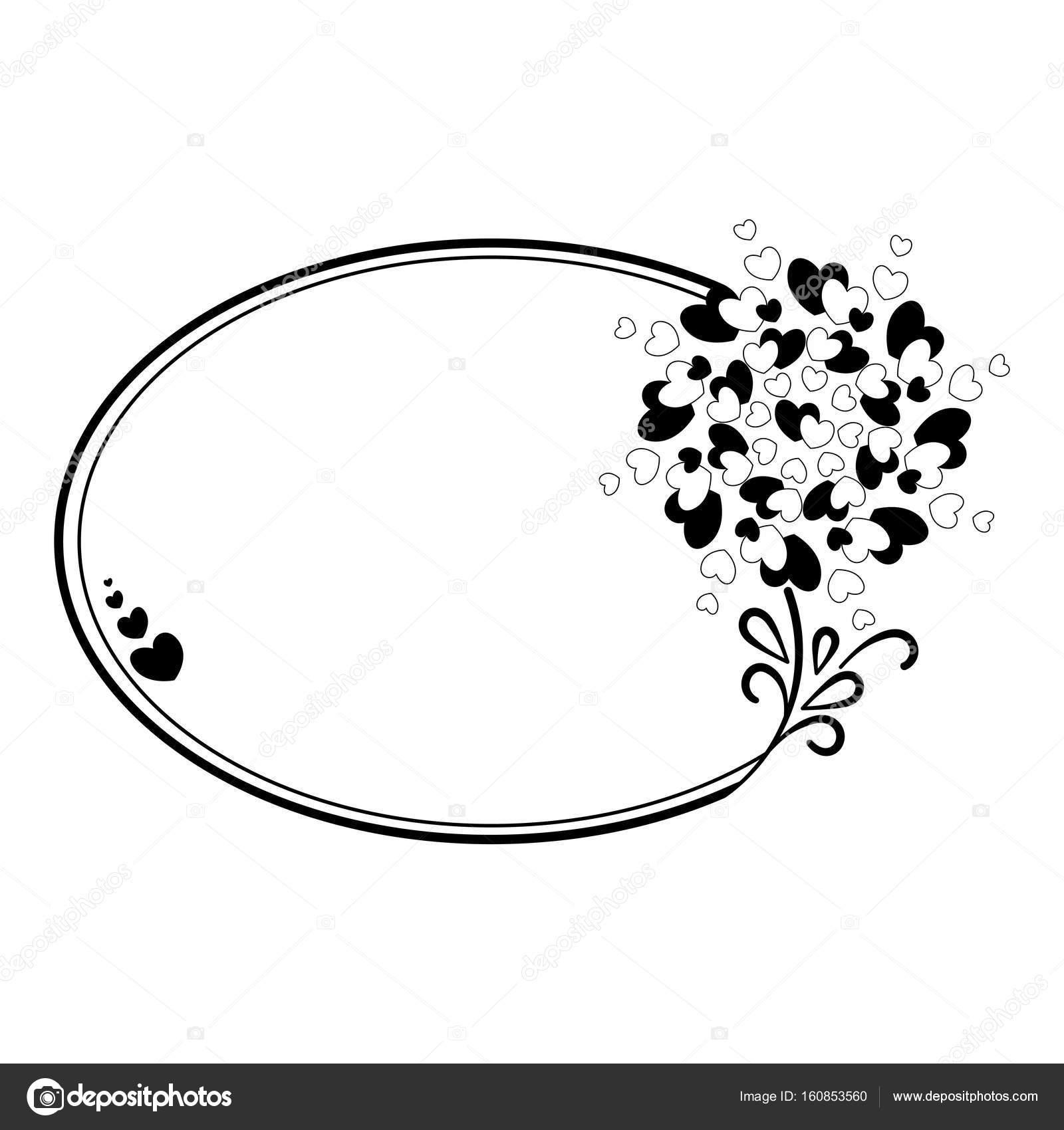 Eleganten Schwarzen Und Weißen Ovalen Rahmen Mit Einer Silhouette ...