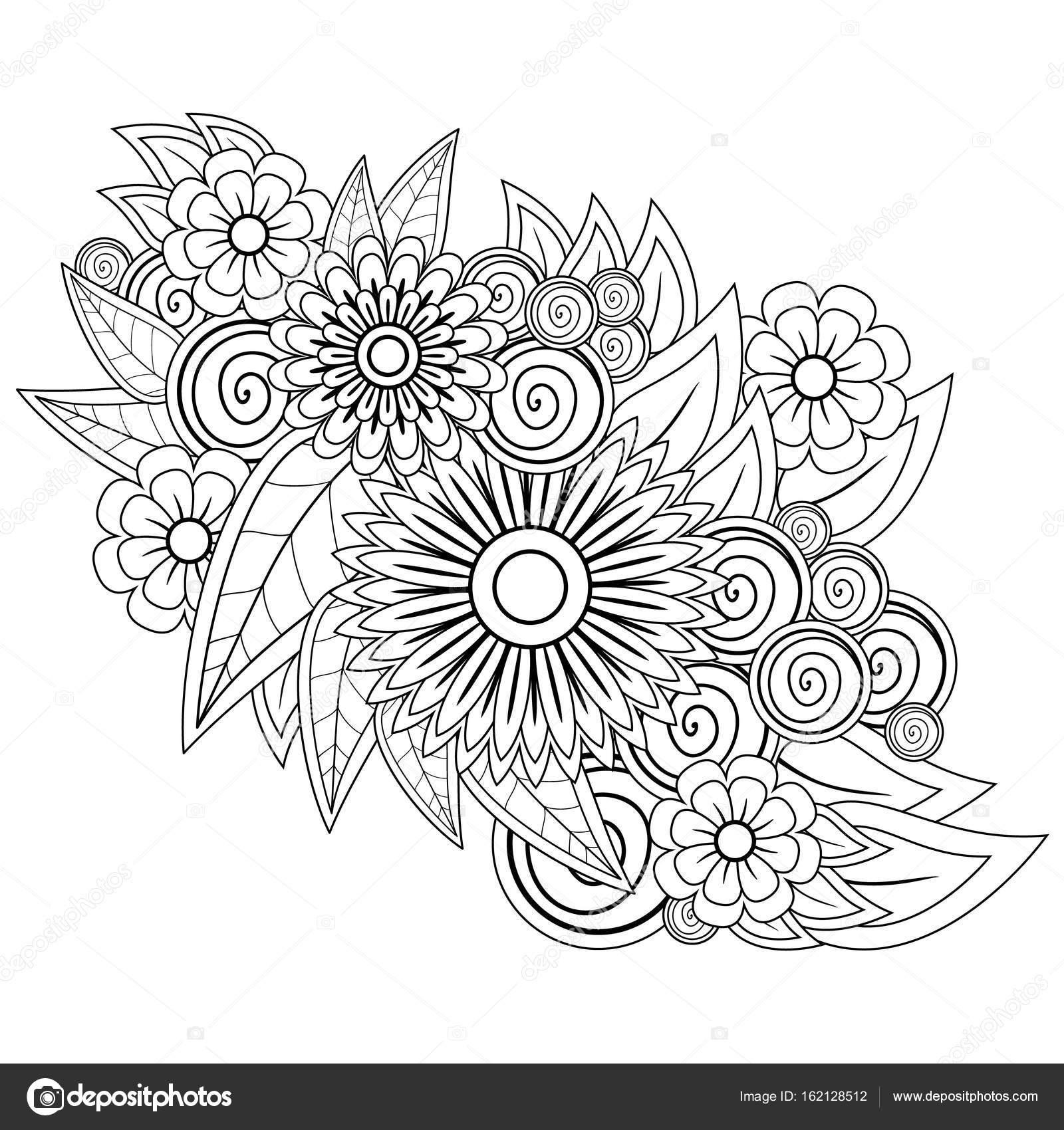 Elemento Decorativo Blanco Negro Para Colorear Forma Flores