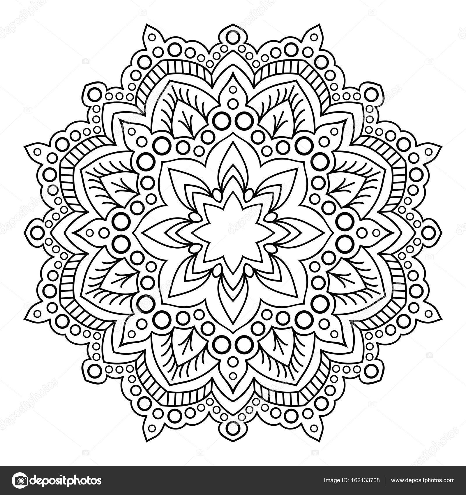 Mandala Elemento Decorativo Blanco Negro Imagen Para Colorear