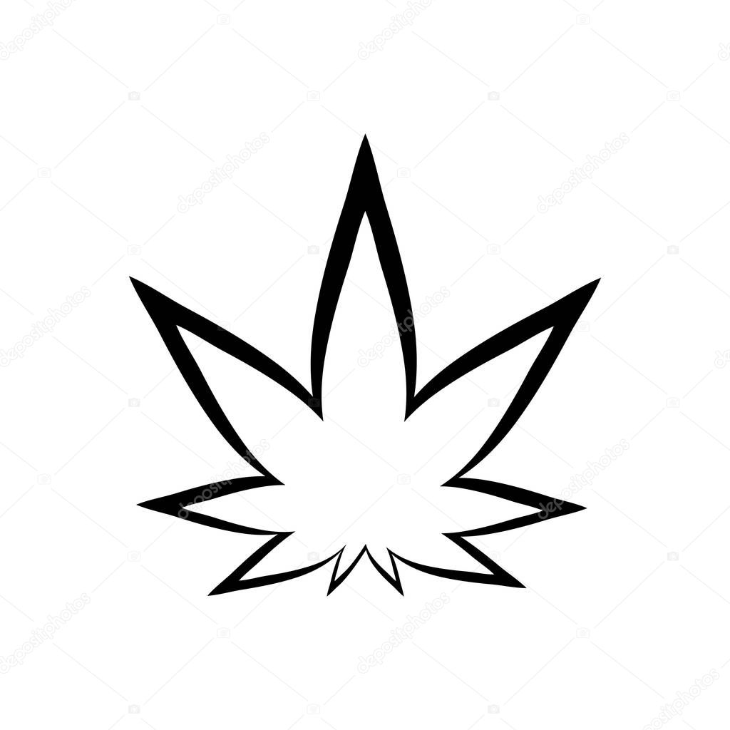Cannabis black silhouette logo. Hemp icons. Sign T-shirts for design, creating corporate identity and promotional products.