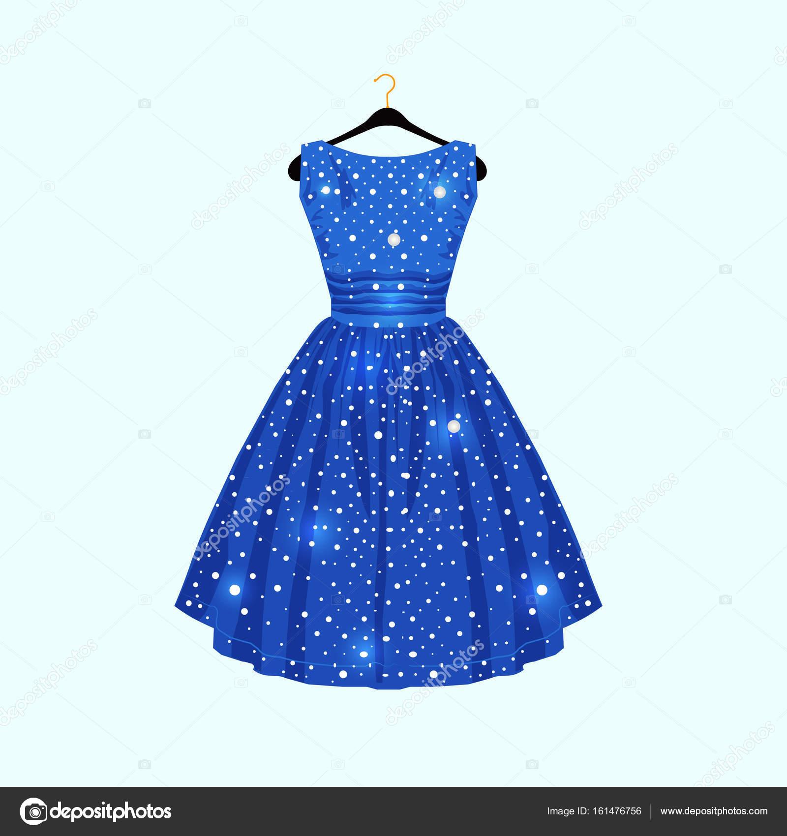 Blaues Kleid mit weißen Punkten. Vektor-Mode-illustration ...