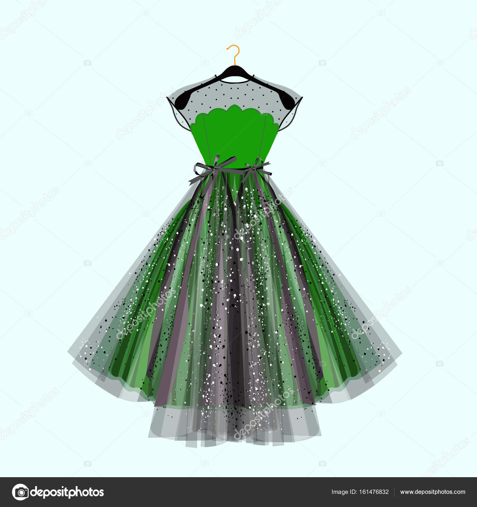 Schöne Party-Kleid. Grünes Kleid mit Strass-Steinen. Vektor-Mode ...