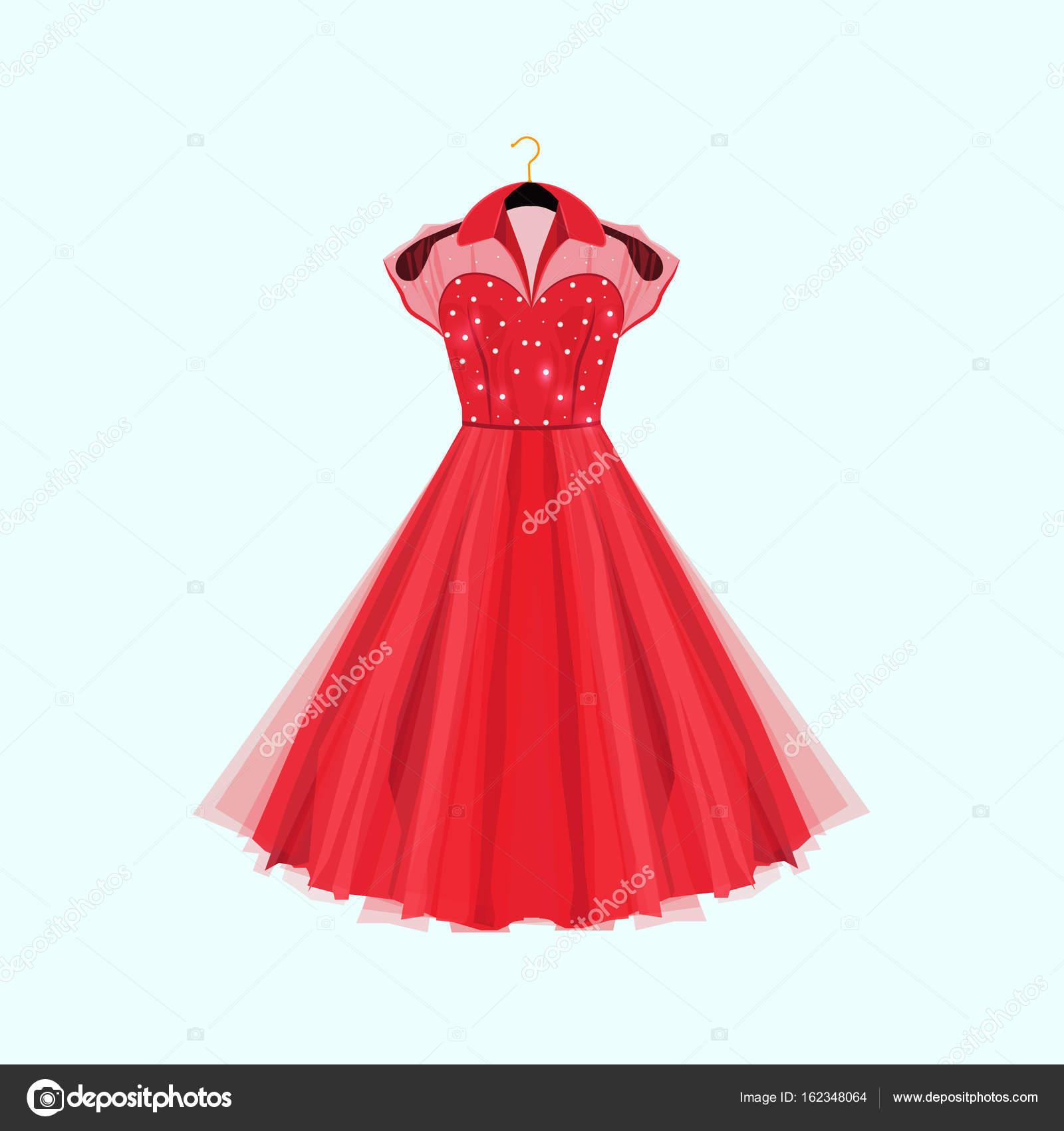 Partykleid rot Retro-Stil. Vektor-Mode-Illustration. Kleid mit ...