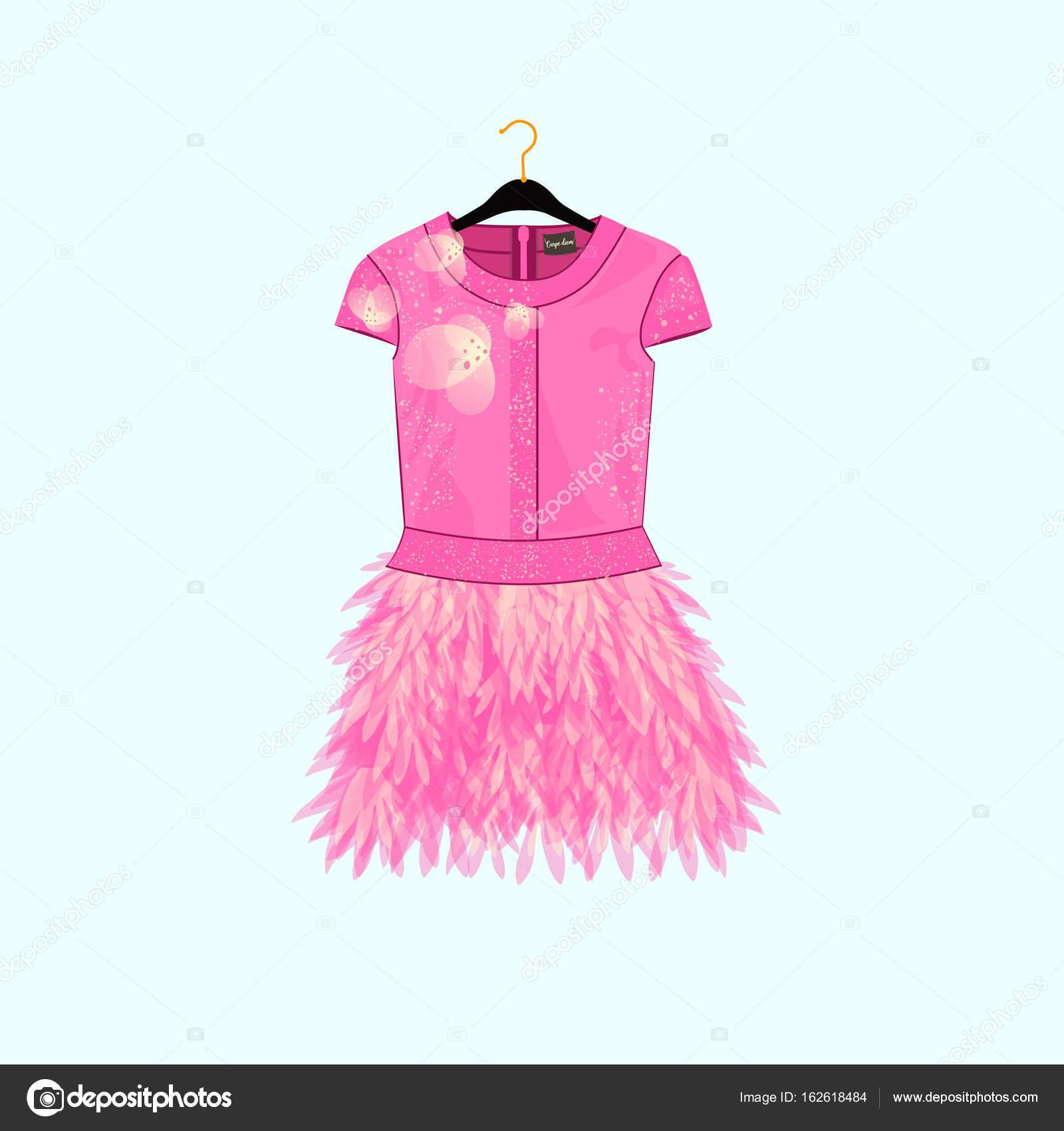 Vestido de fiesta rosa con decoración de plumas. Ilustración de moda ...