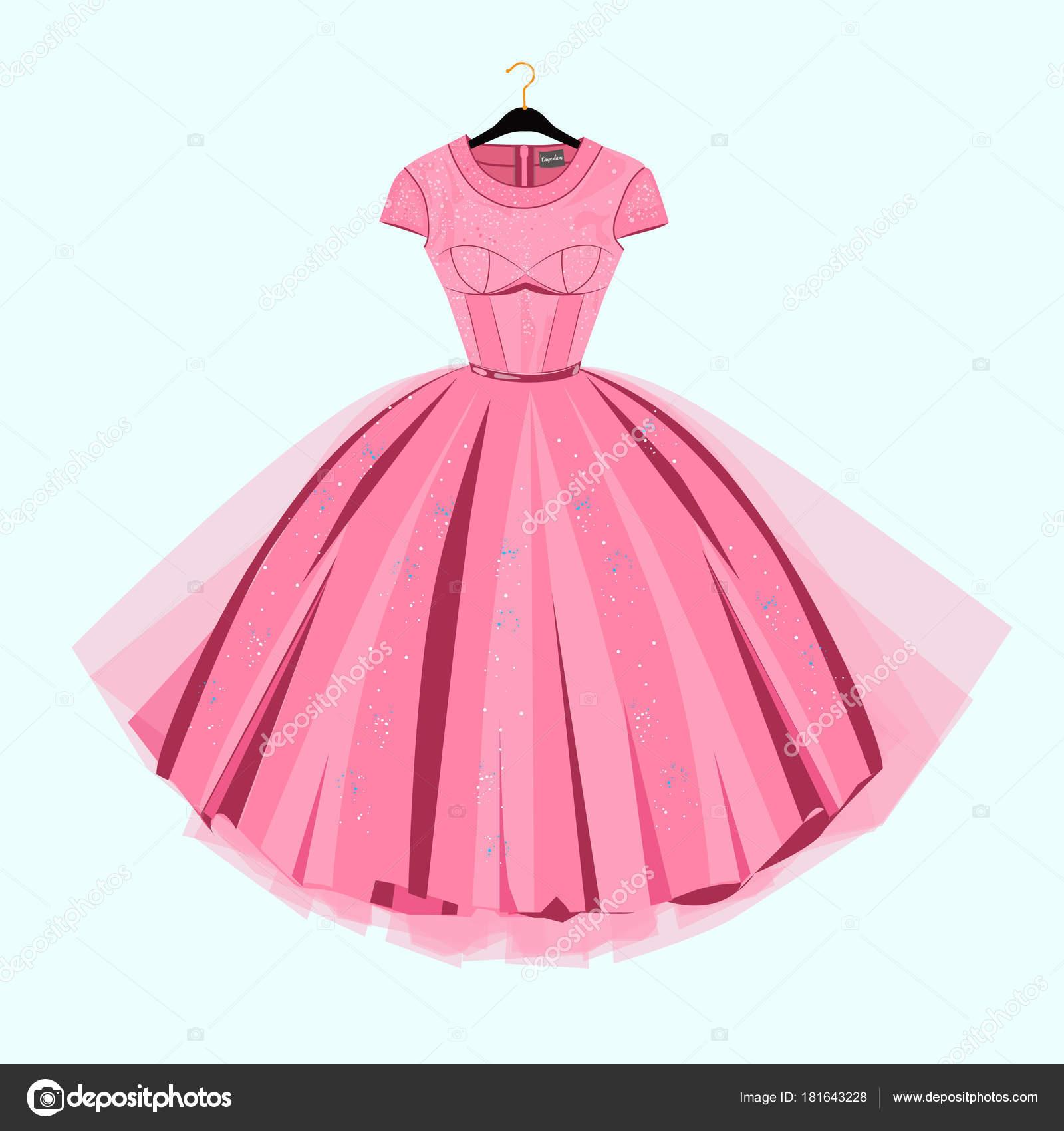 Vestido Fiesta Con Una Decoración Lujo Ilustración Moda — Vector de ...