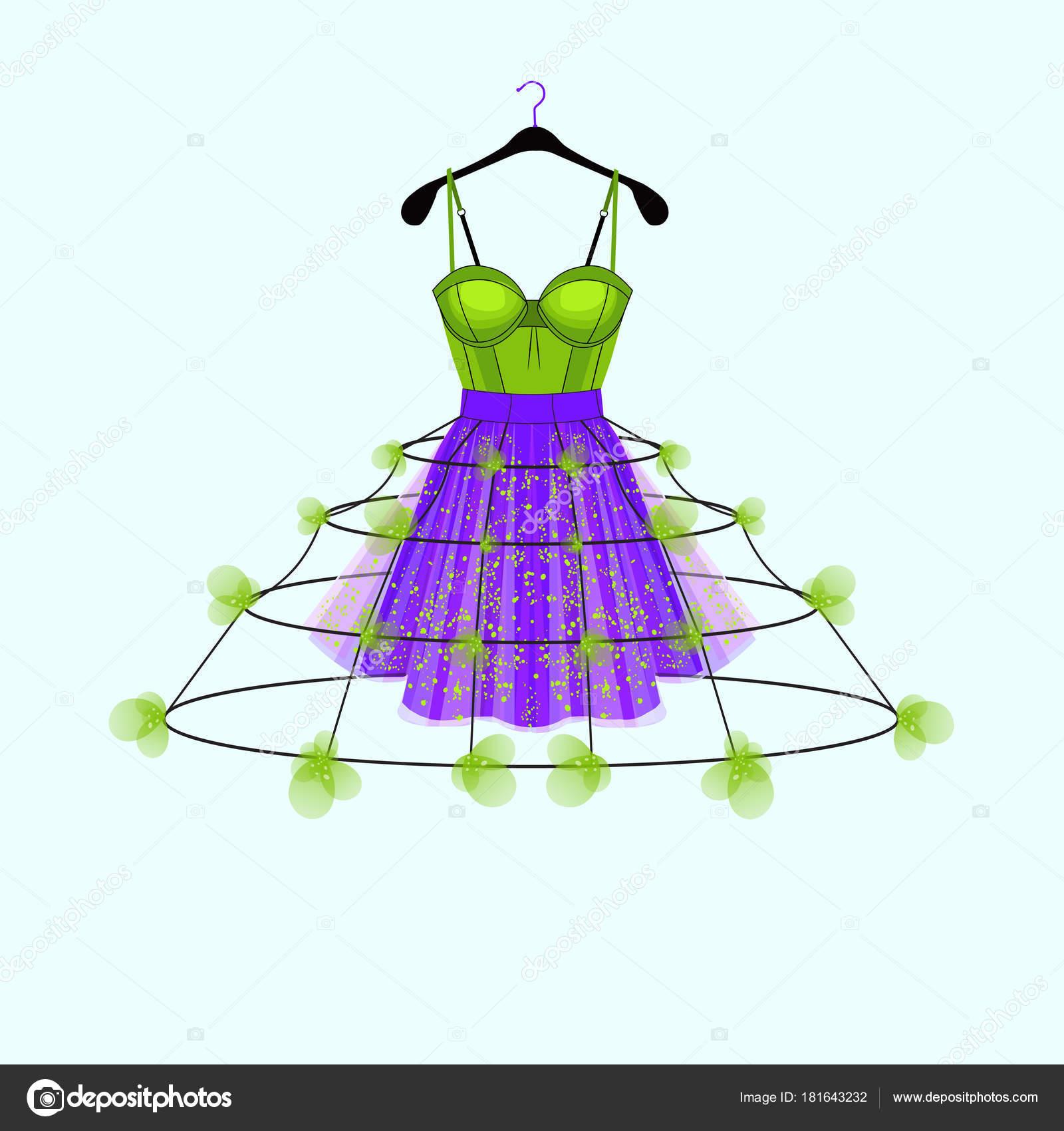 Und Frischen Grünen Kleid Mit Blumen Dekor Mode Illustration Für ...