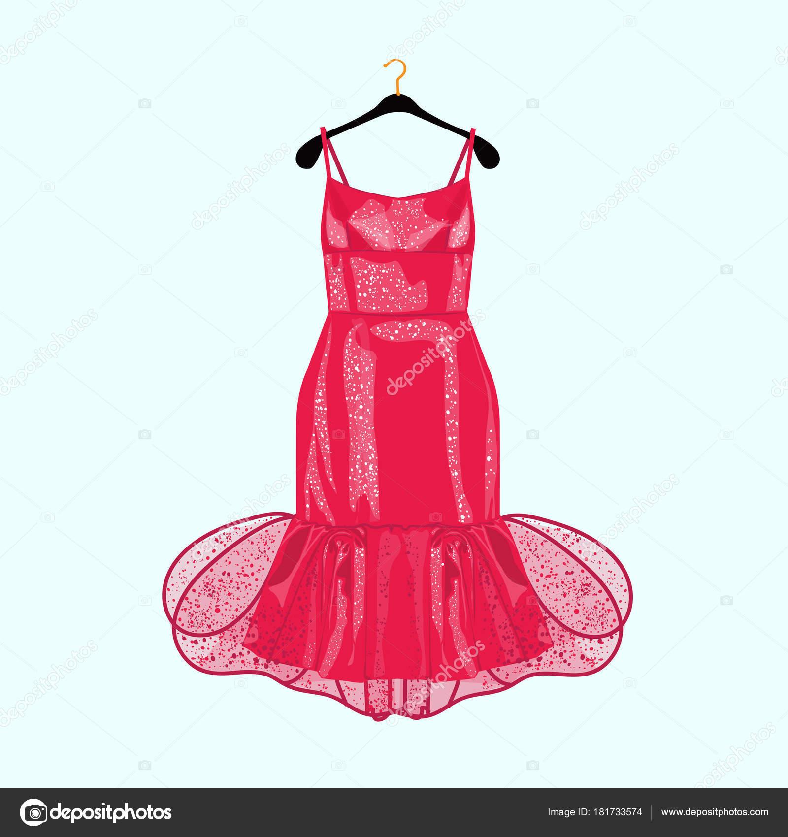 Rot Party Kleid Mit Dekor Mode Illustration Für Shopping Katalog ...