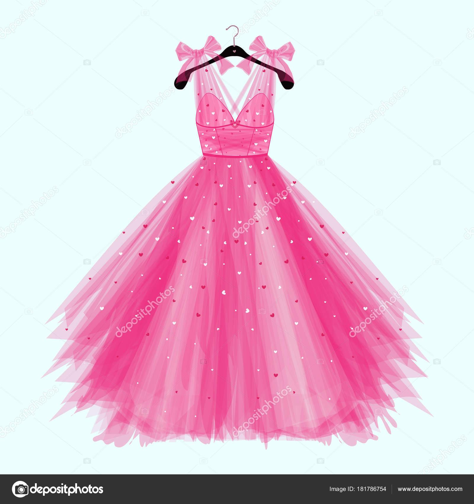 Fiesta Cumpleaños Color Rosa Vestido Con Arco Ilustración Modas Para ...