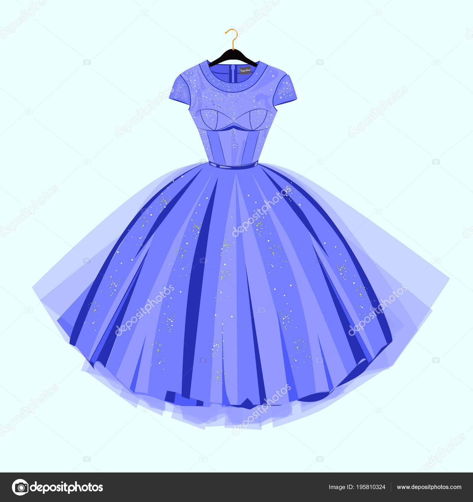 Party Kleid Vintage Stil Mode Illustration Für Shop Katalog