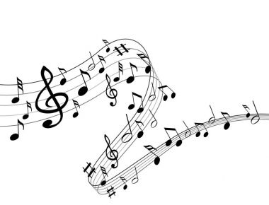 Music notes on a solide