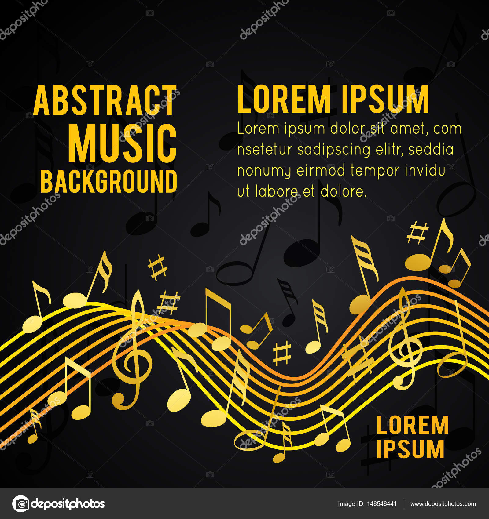 Gold Music Notes Stock Vector C Igordudas 148548441
