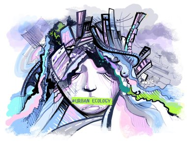 drawing of a girl on the theme of urban ecology