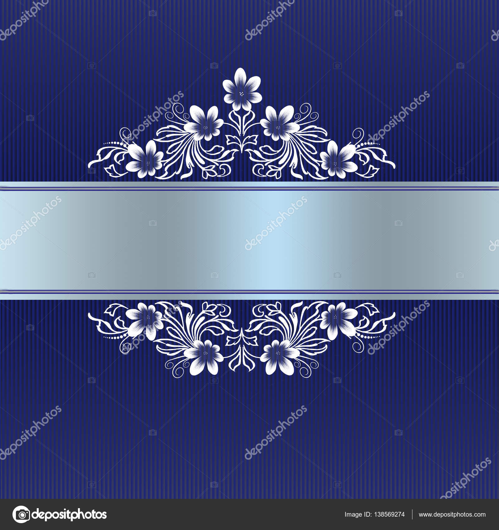 Elegant blue border with white floral ornament — Stock Photo ...