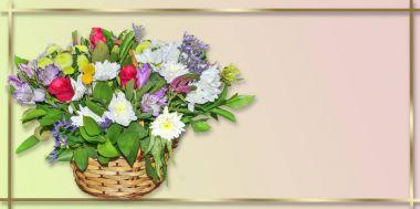 Festive bouquet of flowers in wicker basket on pastel background