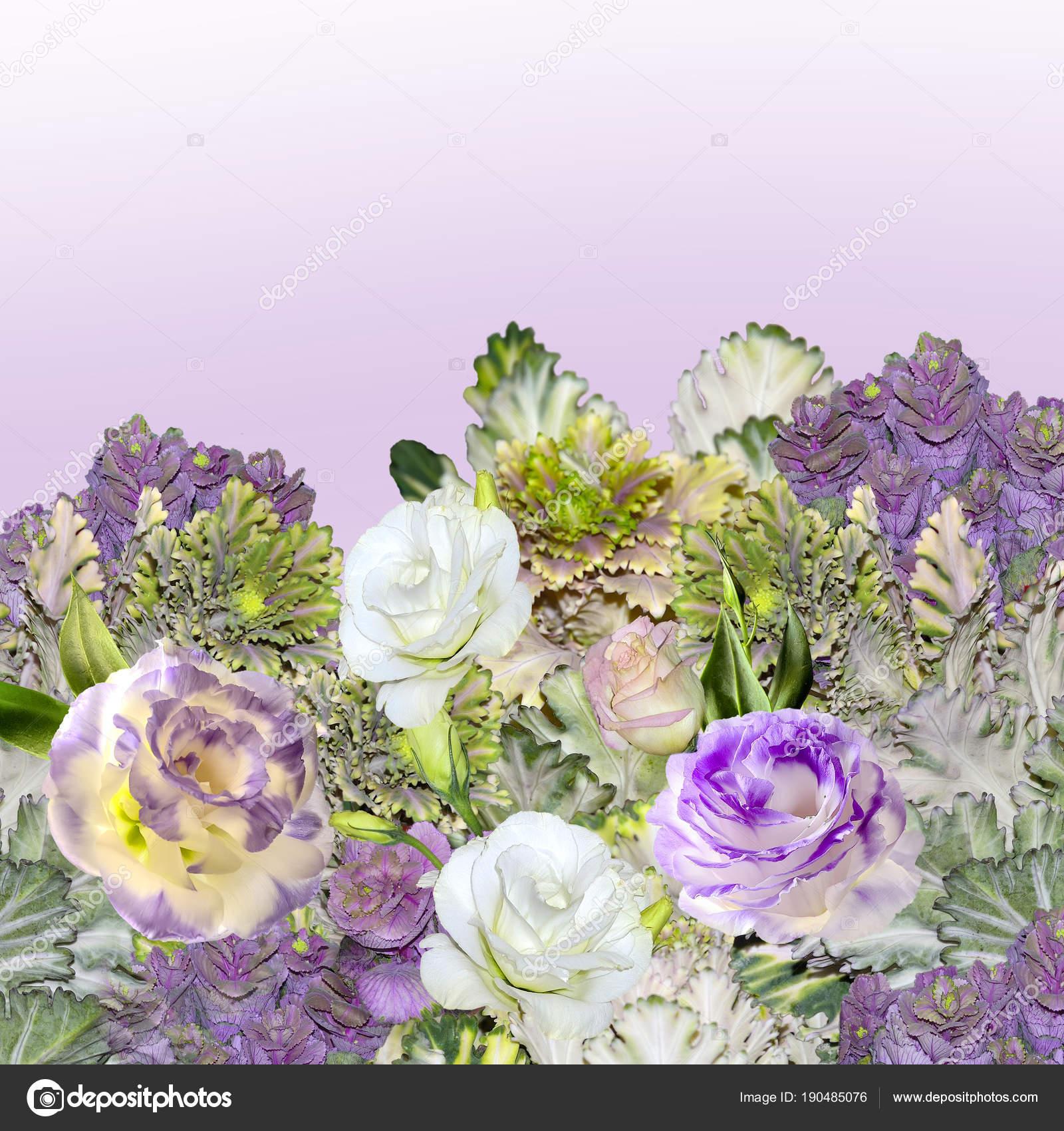bouquet de fleurs eustoma (lisianthus) et le chou ornemental