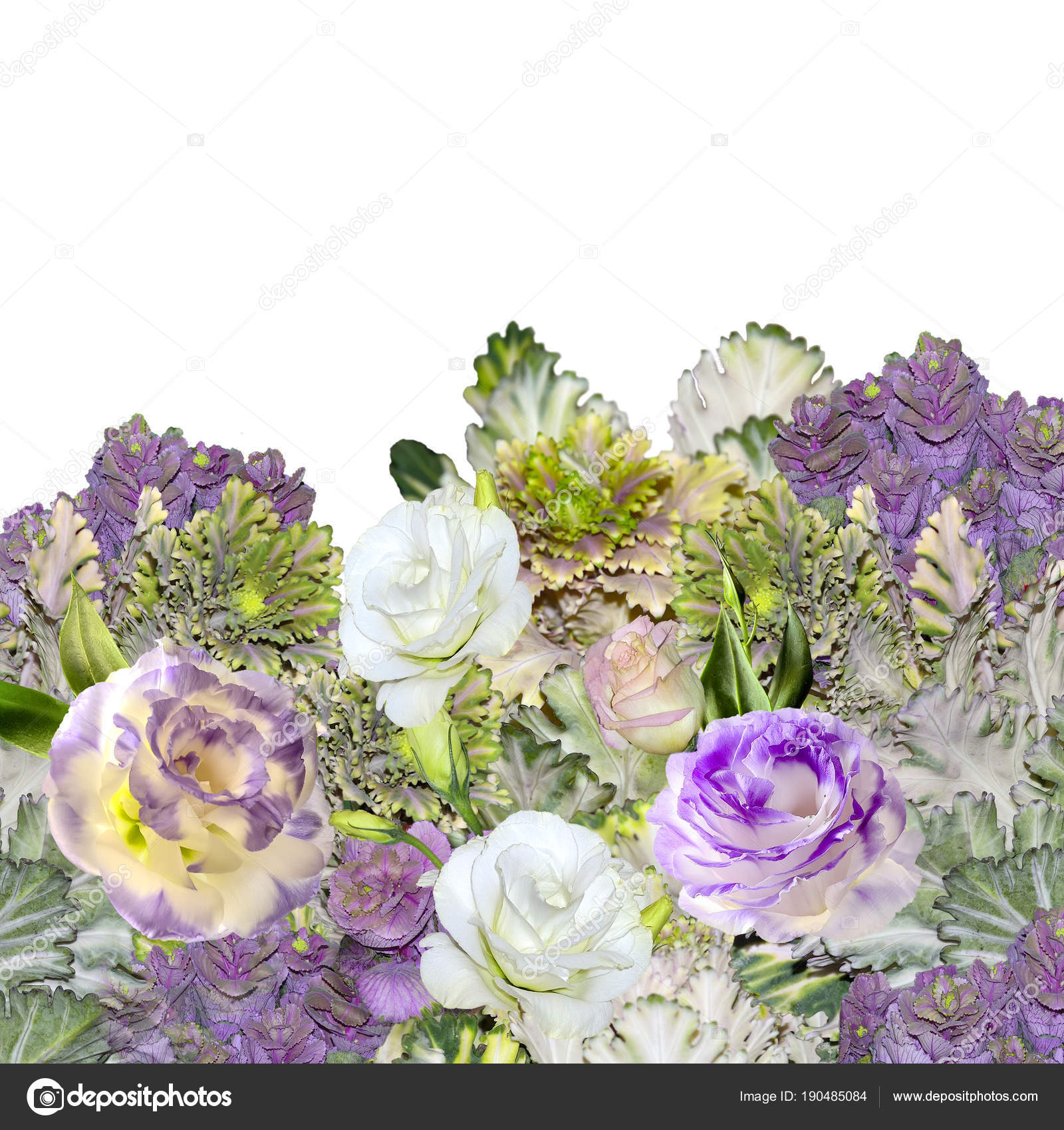 Bouquet Of Eustoma Lisianthus Flowers And Ornamental Cabbage