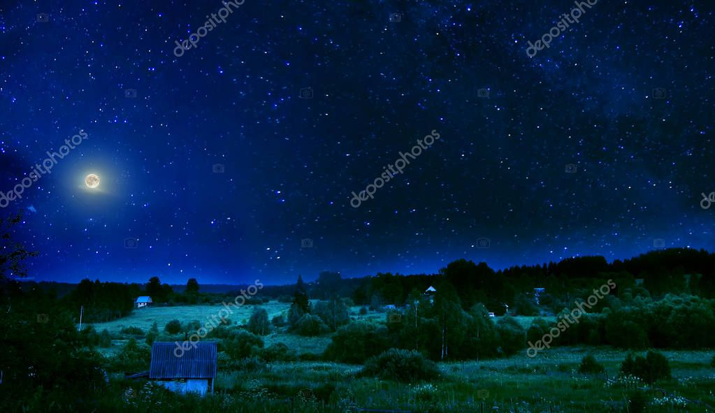 Summer rural night with full moon and shimmering stars on sky