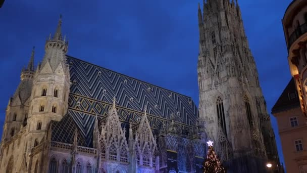 Christmas decorations Shoppings Streets decorated with chandeliers in old town market in front of the St.Stephens Cathedral Vienna, Austria, Europe December 2018