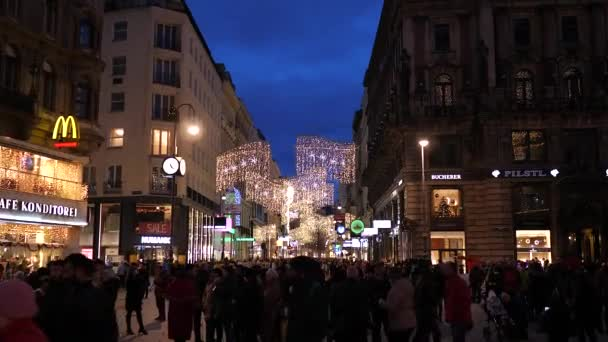 Christmas decorations Shoppings Streets decorated with chandeliers in old town Vienna, Austria, Europe December 2018