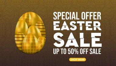 Happy Easter sale promotion design and banner stock illustration.