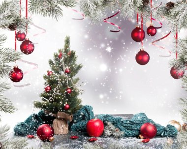 Christmas decoration. Celebration ball and other decoration.
