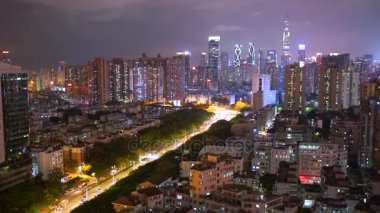 Amazing city panorama in nighttime with magnificent city lights