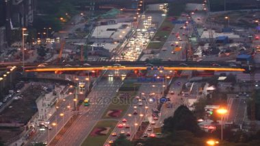 Aerial view of morning traffic before sunrise