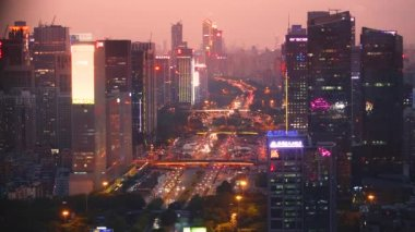 aerial view of morning city before sunrise