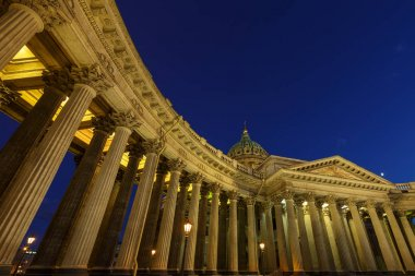 Detail view of Kazan Cathedral in evening, Saint-Petersburg, Russia.