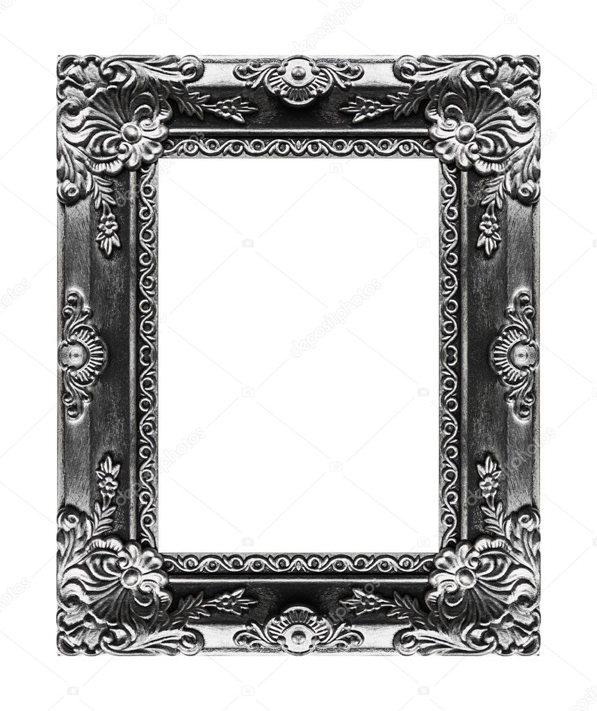 Antike graue Bilderrahmen auf schwarzem Hintergrund isoliert clippin ...