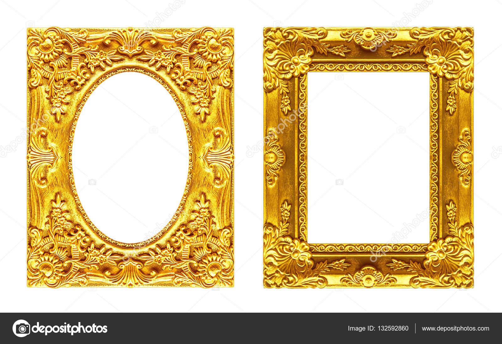 Set 2 - antiguo oro marco aislado sobre fondo blanco — Fotos de ...