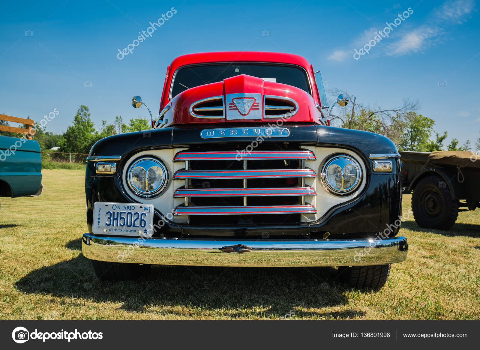gorgeous closeup front view of old classic vintage pickup truck in ...