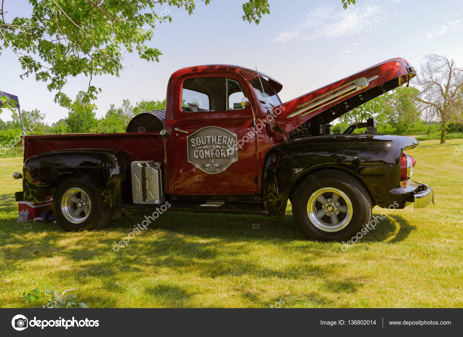 Nice Side View Of Old Classic Vintage Pickup Truck With Open Hood In Outdoor Park