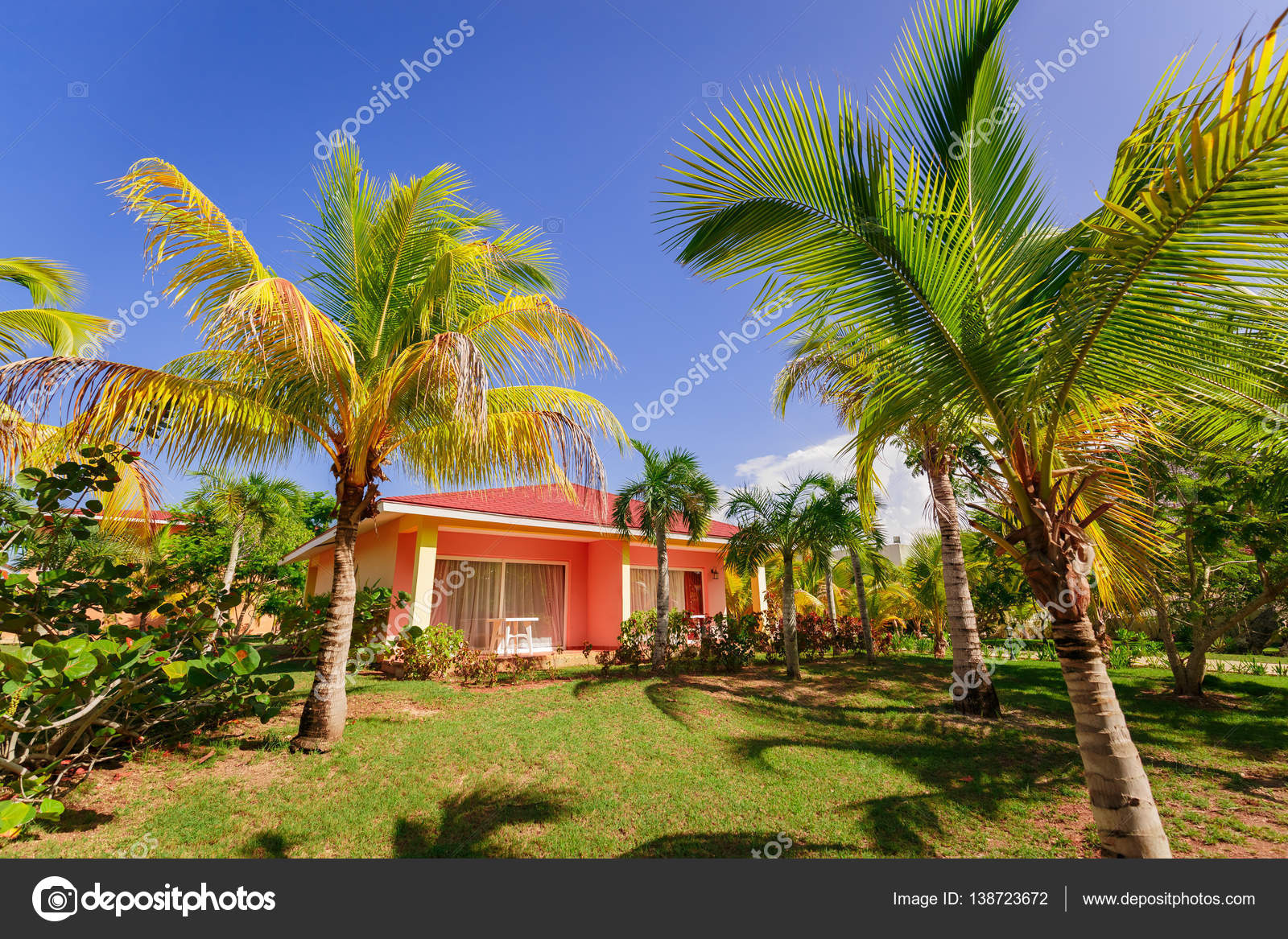 Vue Splendide Resort Bungalow Maison Debout Dans Un Jardin Tropical