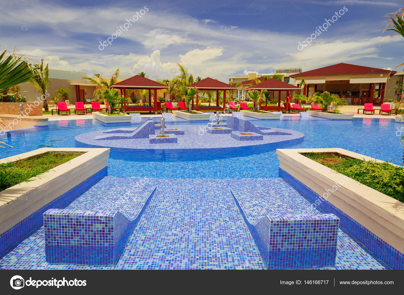 Nice Cozy Stylish Swimming Pool And Grounds On Sunny Beautiful Summer Day Stock Editorial Photo C Vitaldrum 146166717
