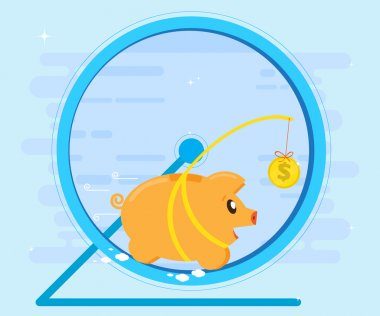 Pig piggybank running in a hamster wheel for coin bait. Business concept. Flat style, cartoon