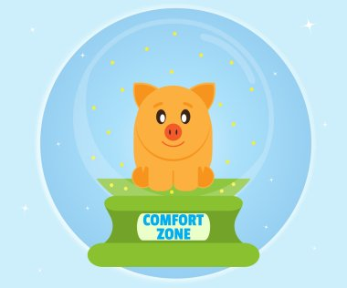 Pig piggy bank sitting in a glass bowl. Comfort Zone Concept. Cartoon, flat style, vector