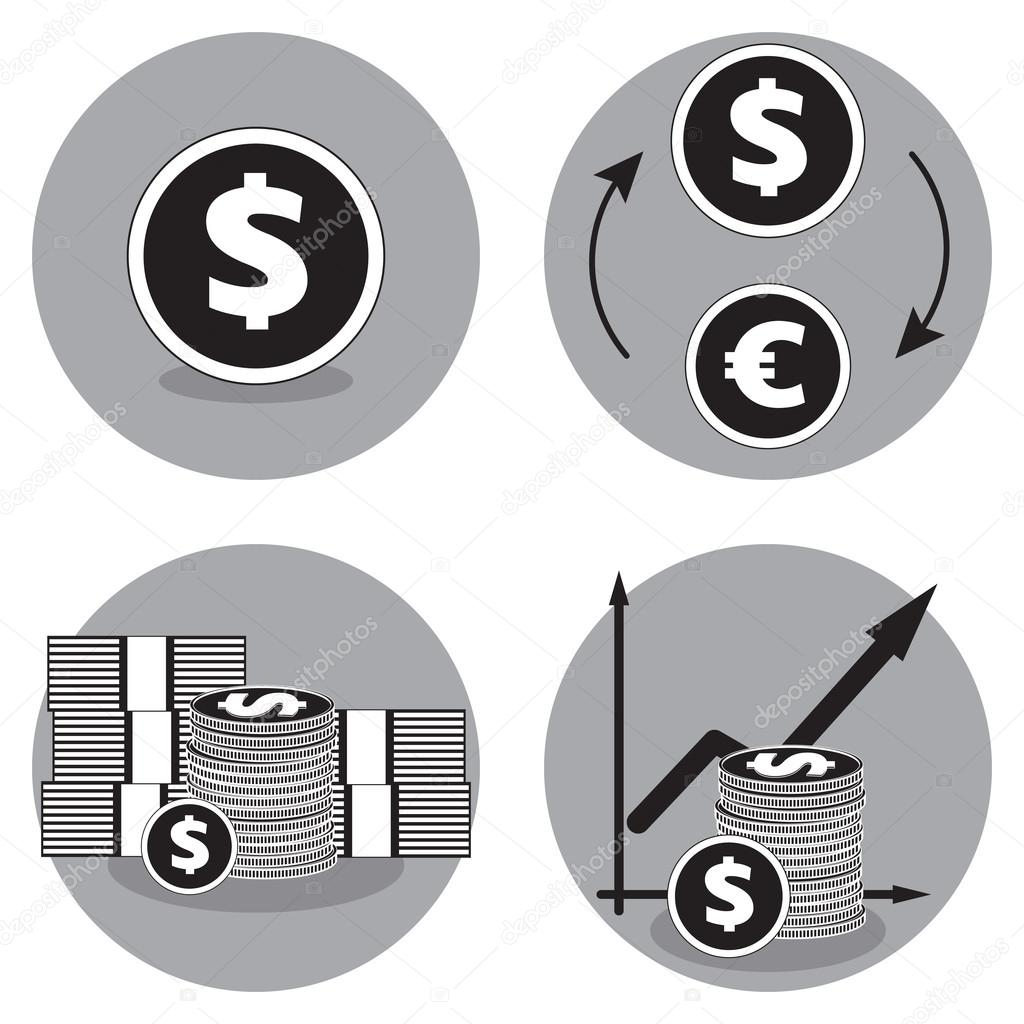 Business icons in black and white dollar vector icon exchange business icons in black and white dollar vector icon exchange dollars for euros currency exchange and money concept symbol stack of cash biocorpaavc Images