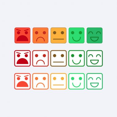 Color set square icon of Emoticons. Rank, level of satisfaction rating in form of emotions, smileys, emoji. Excellent, good, normal, bad, awful. Feedback, user experience in flat icon. Vector