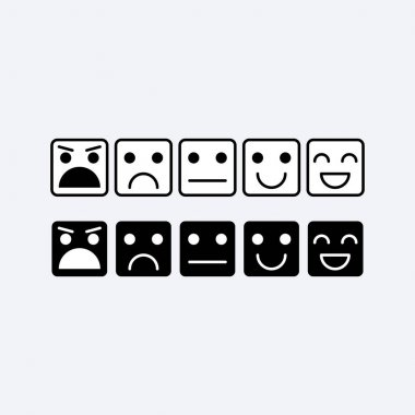 Black white set square icon of Emoticons. Rank, level of satisfaction rating in form of emotions, smileys, emoji. Excellent, good, normal, bad, awful. Feedback, user experience in flat icon. Vector