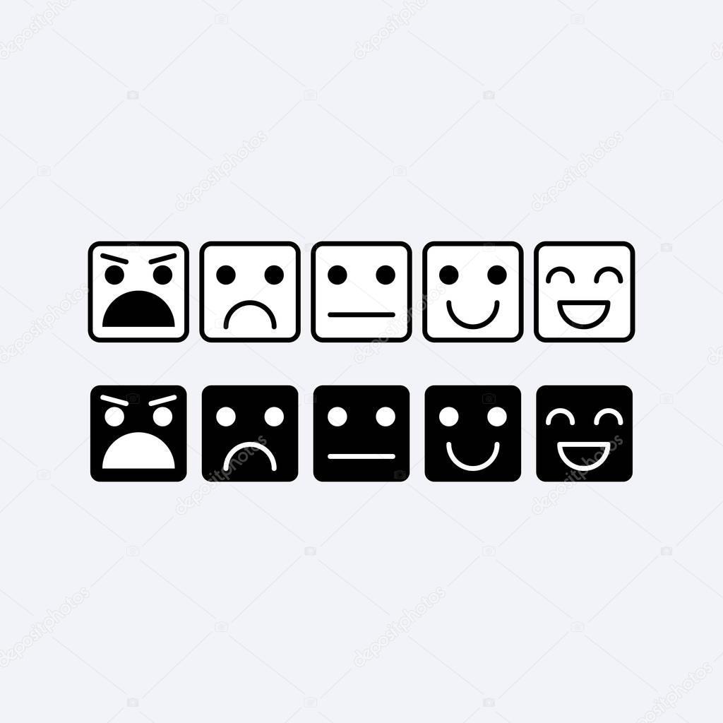 Schwarz weiß set Quadrat von Emoticons. Rang, Grad der ...